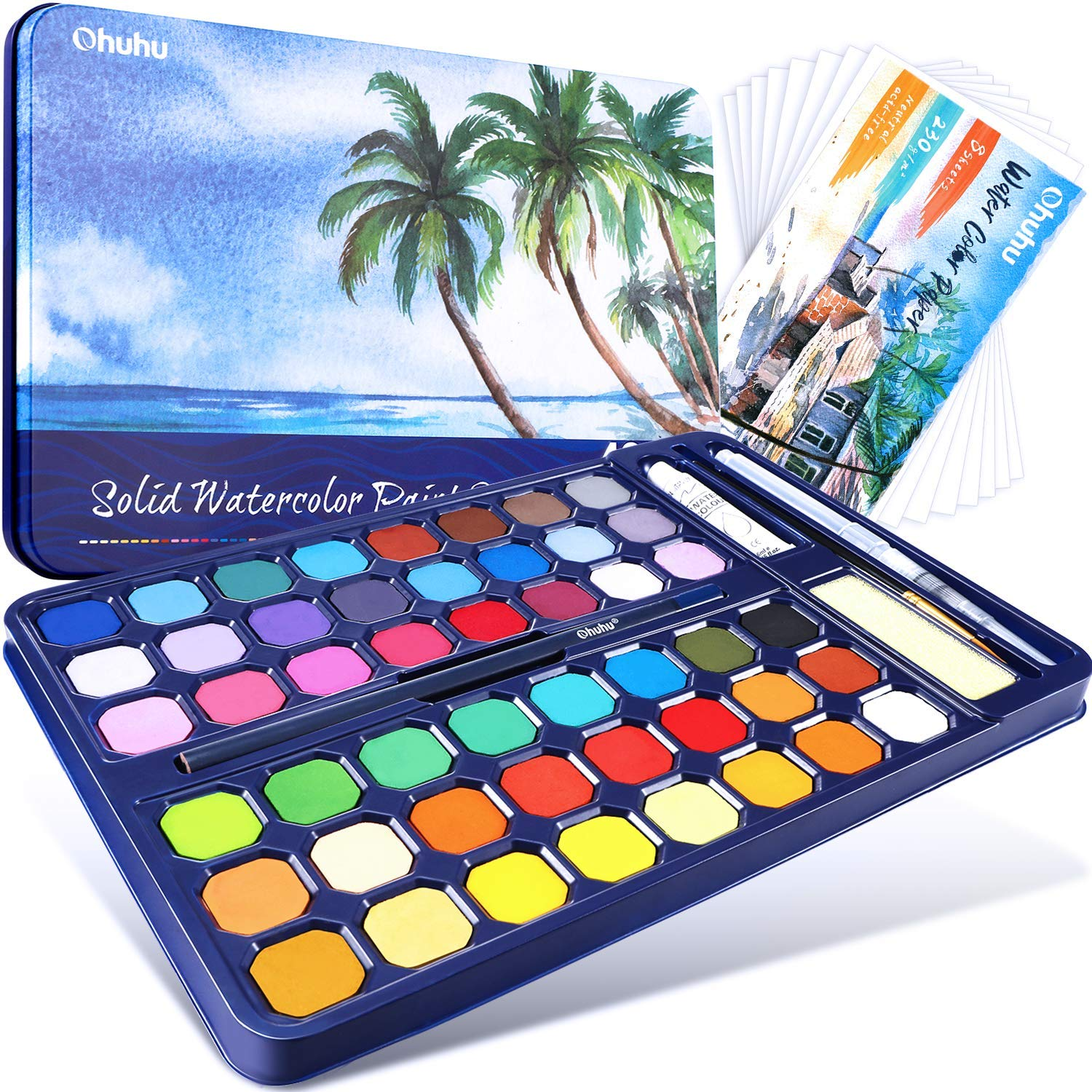 20% OFF - Ohuhu 48 Colors Watercolor Palettes Paint Set for Artists, Kids, Beginner, Student