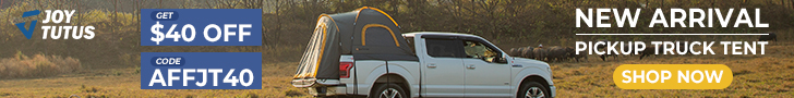 """Use coupon code """"AFFJT40"""" to save $40 OFF for Pickup Truck Tent on Joytutus"""