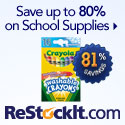 Save up to 80% on office and school supplies at Restockit.com!