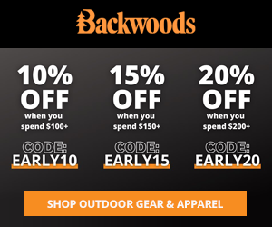 Black Friday / Cyber Monday Sale - Save up to 20% at Backwoods.com 11/17-11/30/20.