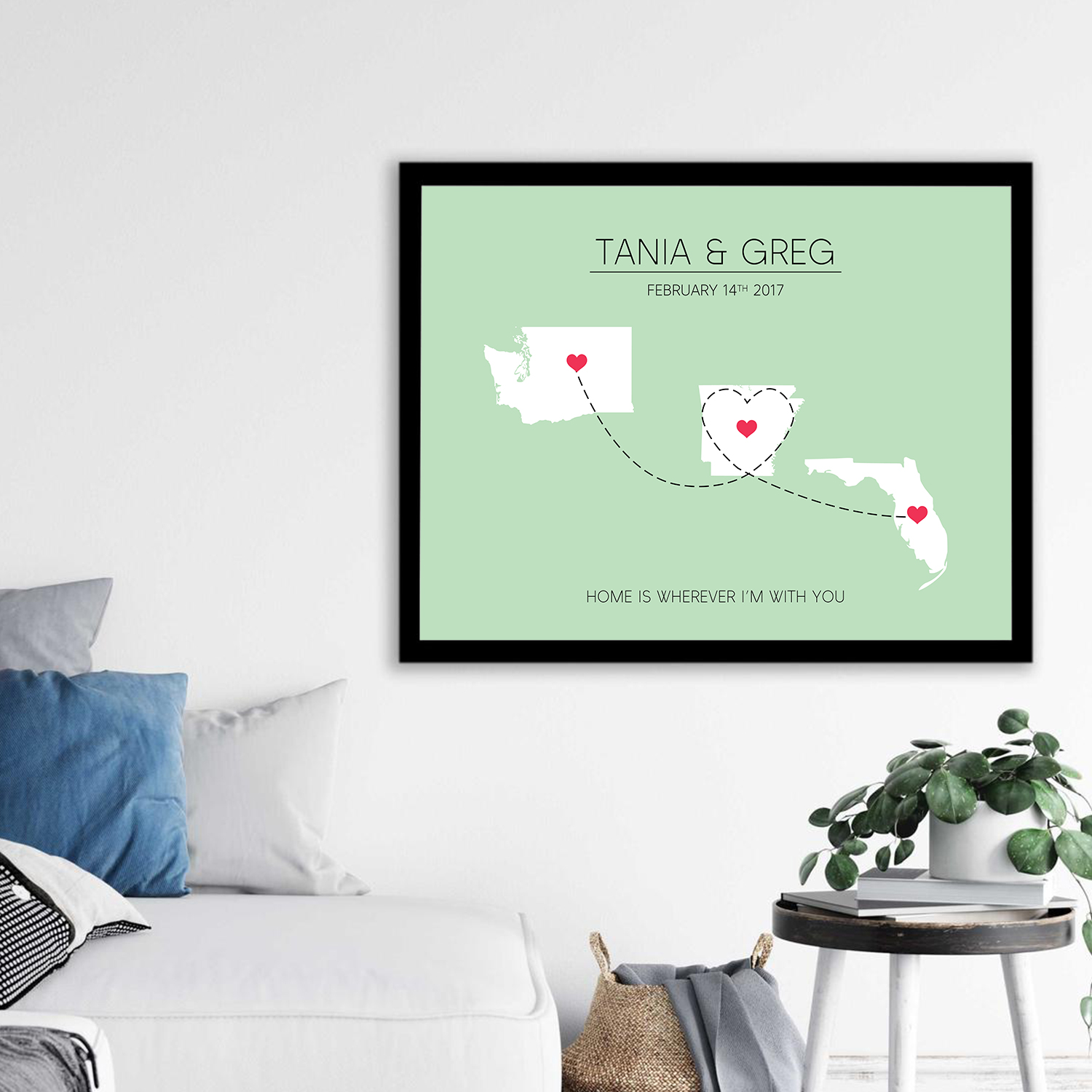 Long Distance Love Map USA Three States