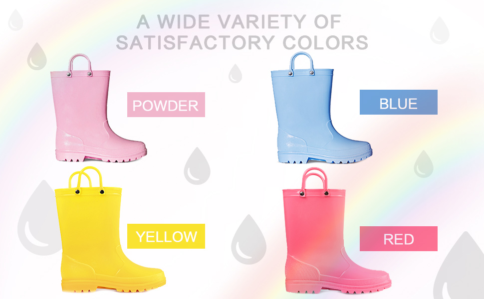 Girls PVC Rain Boots Solid Color Kids Shoes - KKOMFORME