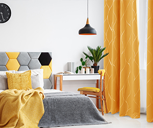 Silver Wave Pattern Thermal Insulated Blackout Curtains - Grommets - 2 Panels -Orange Flame