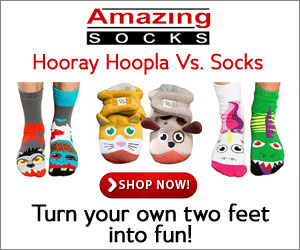 Turn your own two feet into fun with Hooray Hoopla vs Socks from AmazingSocks.com!