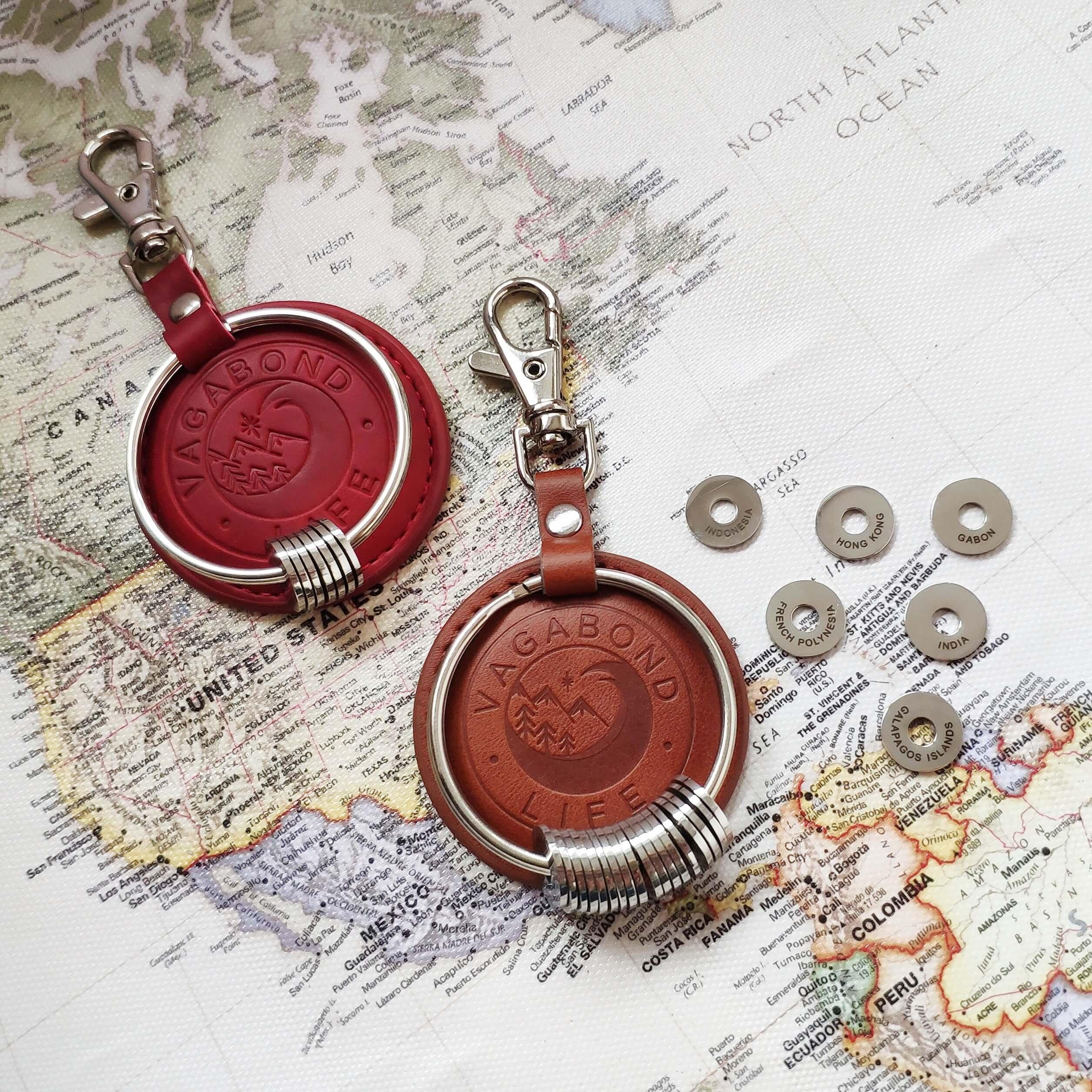 Keychain  on world map background