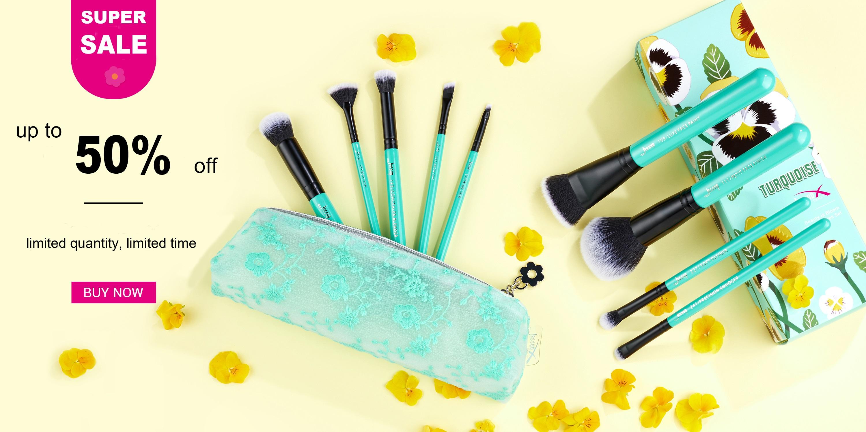 9 pcs Green Makeup Brush Set with Storage Case - Jessup
