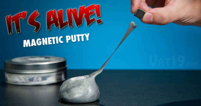 Magnetic Thinking Putty can bounce, rip, tear, shatter, and pick up things like paperclips when magnetized.