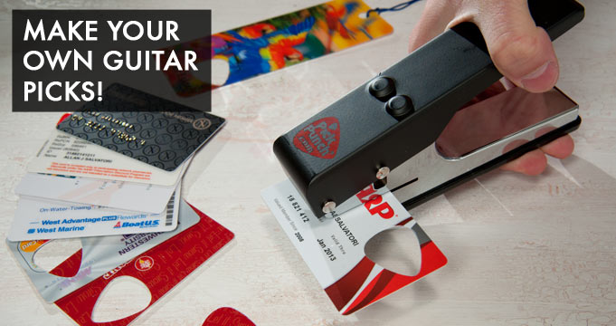 Make your own guitar picks out of credit cards, gift cards, plastic lids, and more with the Guitar Pick Punch.