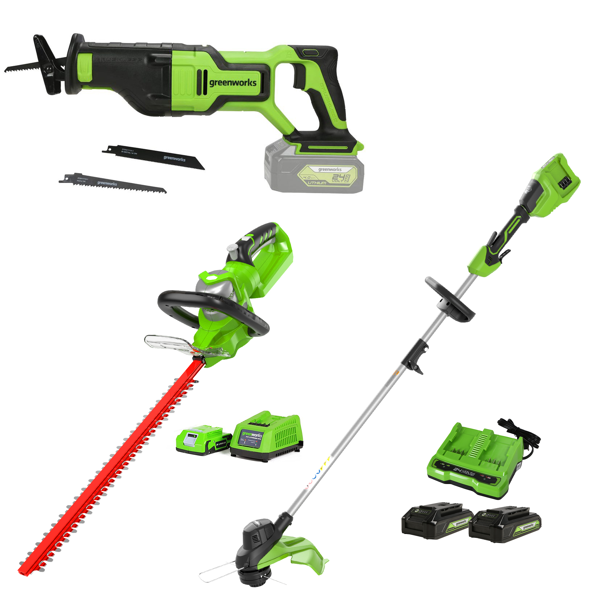 2 x 24V 48V 15-Inch TORQDRIVE String Trimmer, 24V 22-Inch Hedge Trimmer and 24V Brushless Cordless Reciprocating Saw Was: $229.99 Now: $195.50.