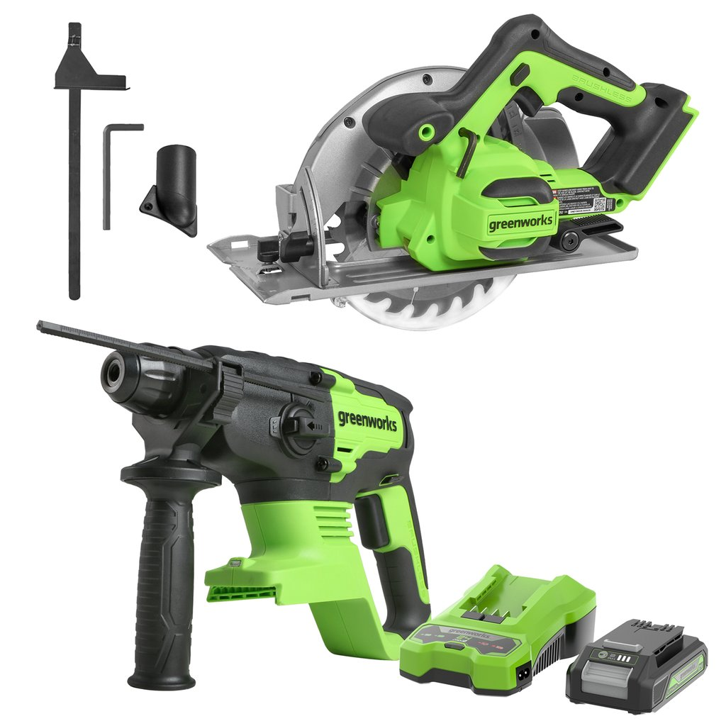 24V Brushless Power Saw Combo Kit-Brushless 7.25-inch Circular Saw and Brushless Rotary Hammer,2.0Ah Batteries and 2A Charger Included Was: $299.99 Now: $199.99.