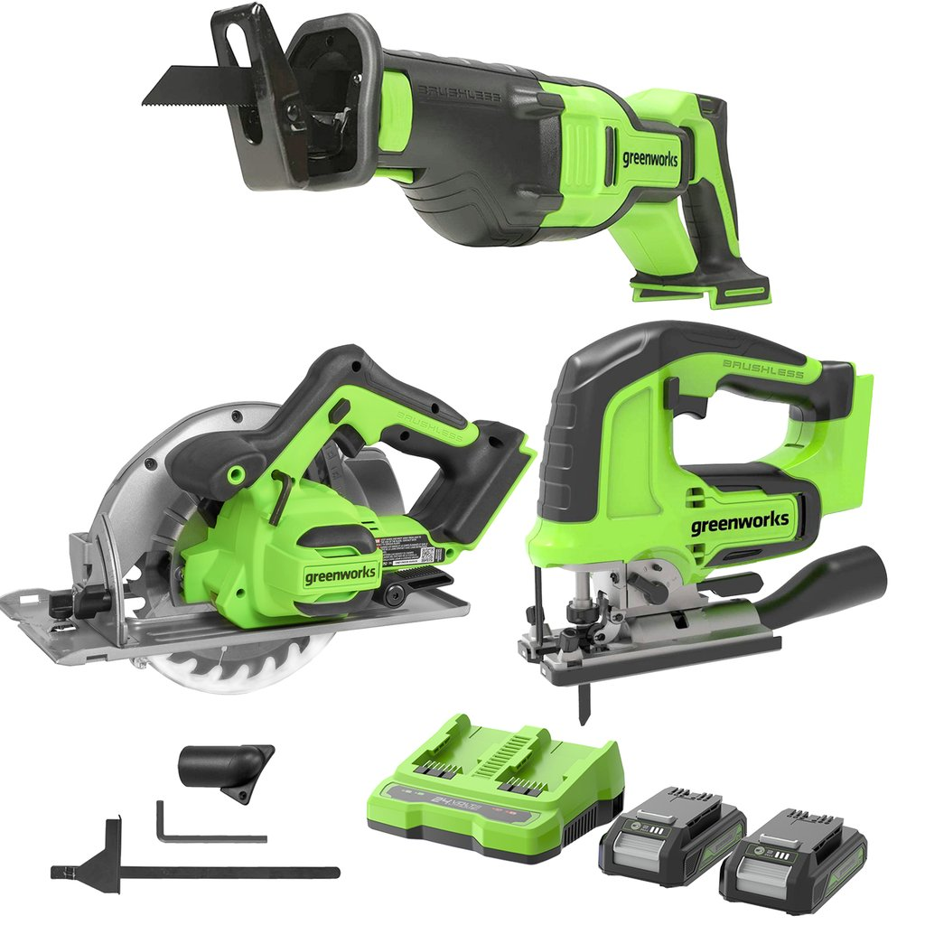 24V Brushless Power Saw Combo Kit-Brushless Cordless Reciprocating Saw,Cordless 3000 SPM Jig Saw and Brushless 7.25-inch Circular Saw ,2x2.0Ah Batteries and 2A Dual Port Charger Included Was: $389.99 Now: $249.99.