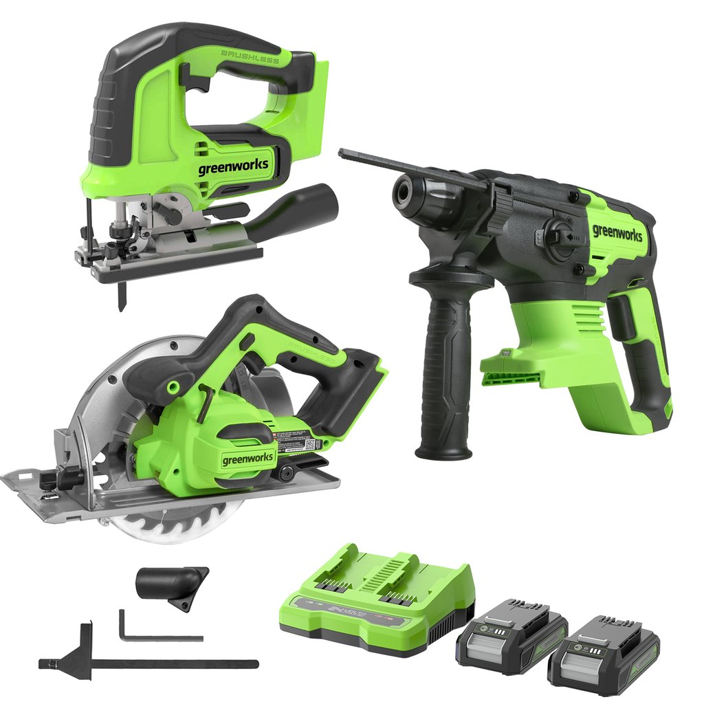 24V Brushless Power Saw Combo Kit Cordless 3000 SPM Jig Saw Brushless 7.25-inch Circular Saw and Brushless Rotary Hammer, 2x2.0Ah Batteries and 2A Dual Port Charger Included Was: $389.99 Now: $259.99.
