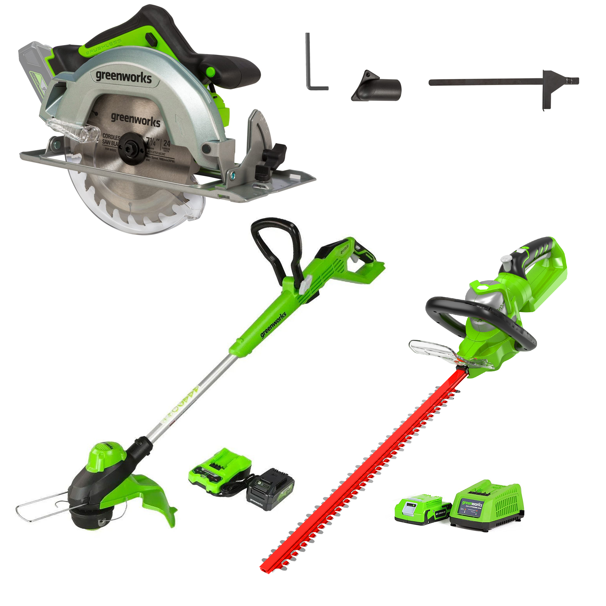 24V 13-Inch String Trimmer, 24V 22-Inch Hedge Trimmer and 24V Brushless 7.25-inch Circular Saw Was: $229.99 Now: $195.50.