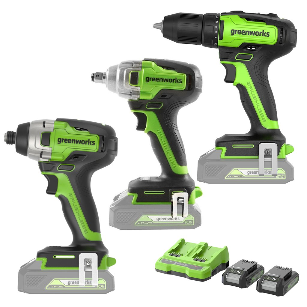24V Brushless Drill Combo Kit - Brushless Impact Driver,1/2-inch Impact Wrench and 2-in-1 Cordless Drill/Driver 2x2.0Ah Batteries and 2A Dual Port Charger Included Was: $299.99 Now: $199.99.
