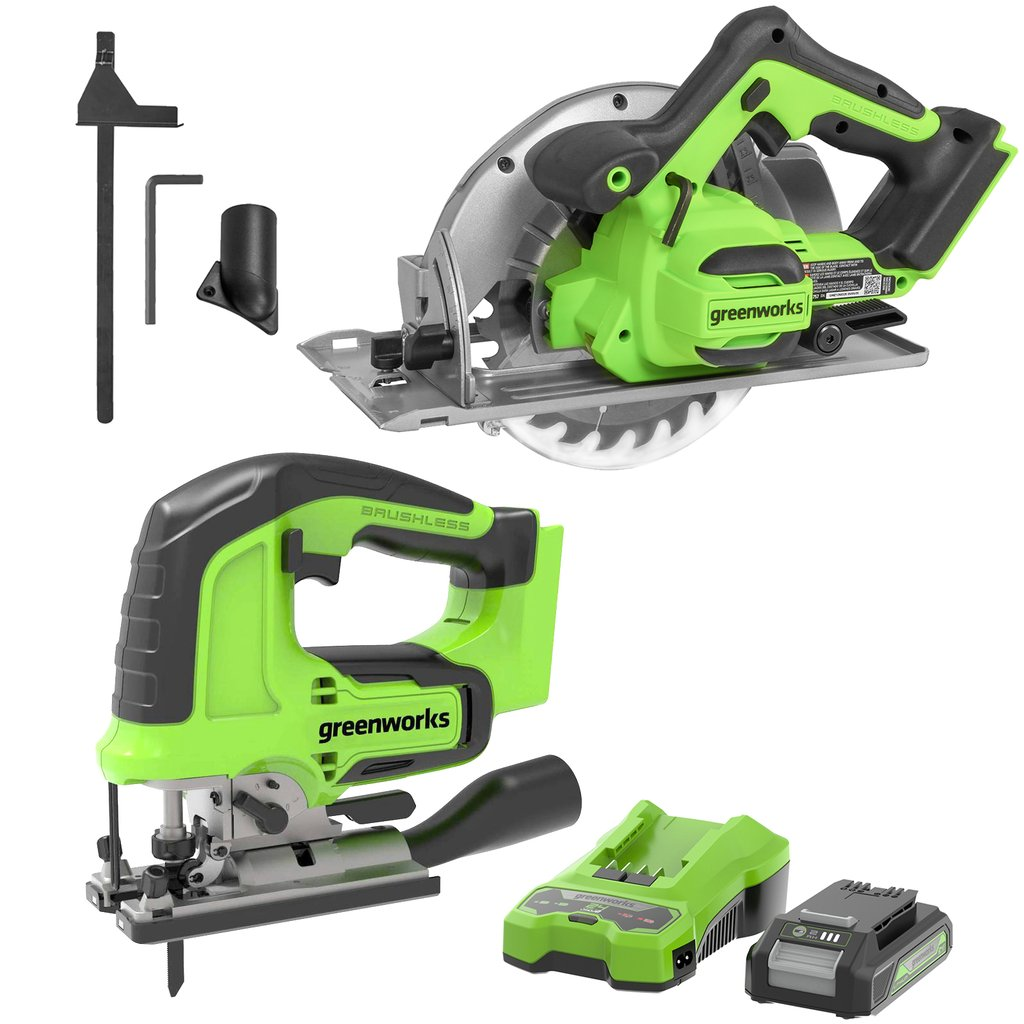 24V Brushless Power Saw Combo Kit-Cordless 3000 SPM Jig Saw and Brushless 7.25-inch Circular Saw ,2.0ah Batteries and Charger Included Was: $299.99 Now: $169.99.