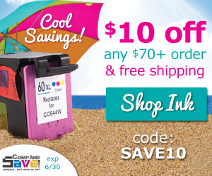 Save $10 off $70 ink orders at CompAndSave.com using coupon code: save10