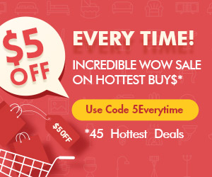 $5 off 45 hottest deals with code 5Everytime