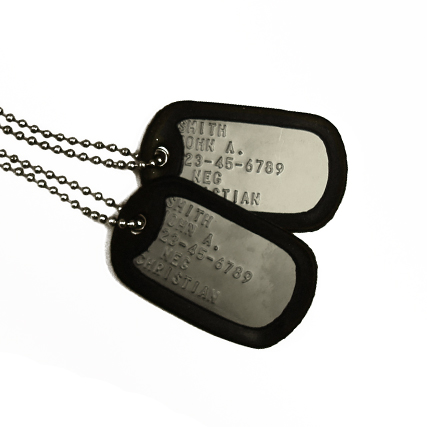 Custom Dog-Tags. Each Branch. Produced In-House, Same Day!
