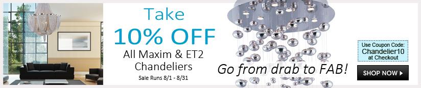 Maxim & ET2 Lighting Chandeliers - Save 10%
