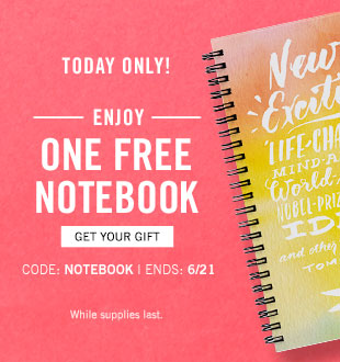 Enjoy one free notebook with promo code NOTEBOOK, 6/21 only
