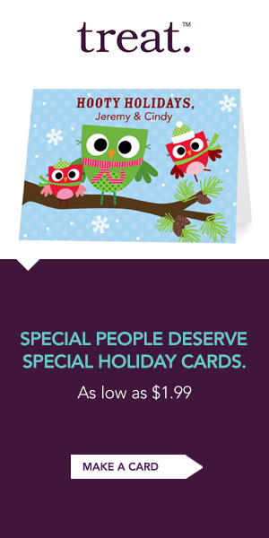 Treat personalized holiday cards