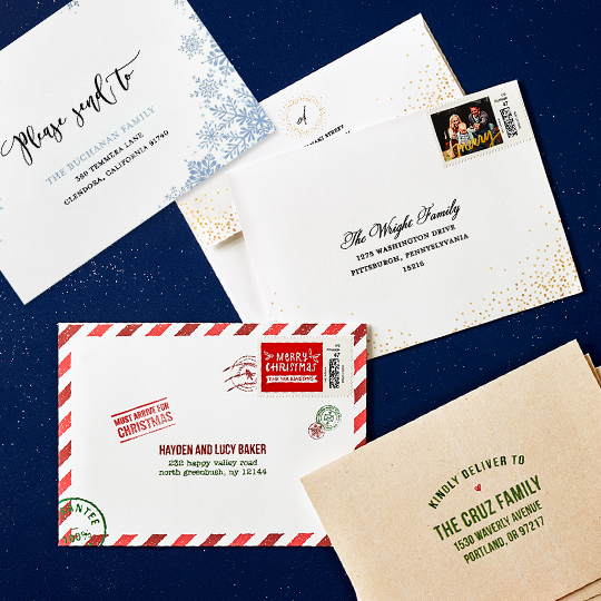 Tiny Prints offers a service to address your envelopes of your holiday cards for you.