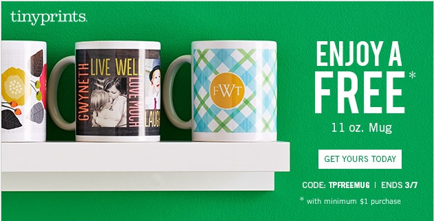 Tiny Prints Deal: Free Photo Mug