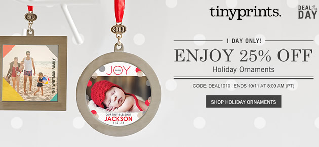 25% off photo holiday ornaments at Tiny Prints: TODAY only!