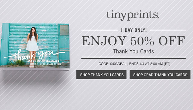 tinyprints 50 off personalized thank you notes deal mama