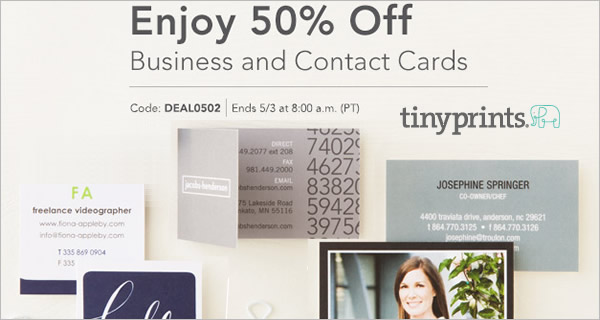 Tiny Prints 50% off Business Contact Mommy Blogger Cards