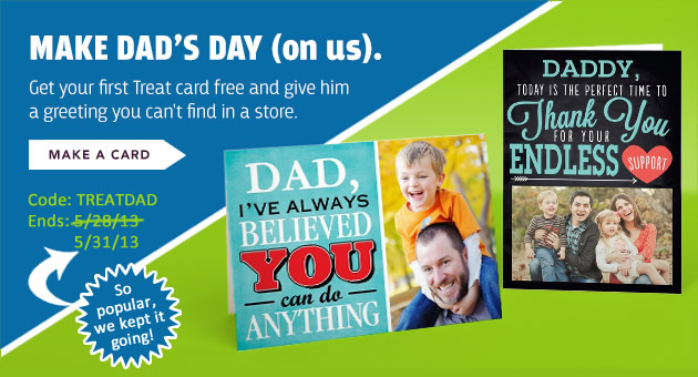 Treat Coupon Code for a FREE Father's Day Greeting Card + Free Shipping!