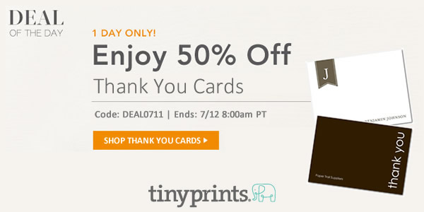 Beginning At 10 00 Am Pt Today Through 9 Tomorrow Their Custom Thank You Cards Are Half Off With The Promo Code Deal0613