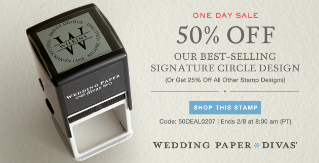 Wedding Paper Divas Daily Deal 50 a Signature Custom Stamp The