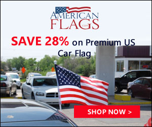 Save 28% on Premium US Car Flag 300x250 banner