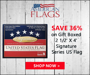 Save 36% on Gift Boxed 2 1/2' X 4' Signature Series US Flag 300x250 banner