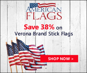 Save 38% on Verona Brand Stick Flags 300x250 banner