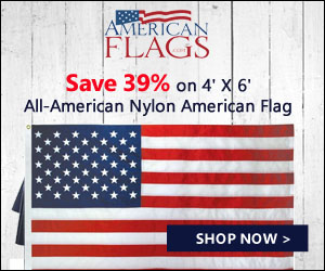 Save 39% on 4' X 6' All-American Nylon Flag 300x250 banner