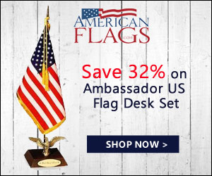 Save 32% on Ambassador US Flag Desk Set 300x250 banner