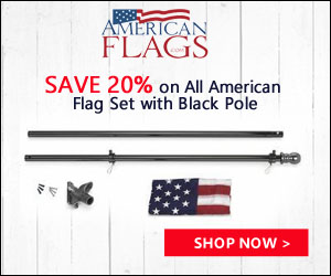 Save 20% on All American Flag Set with Black Pole 300x250 banner