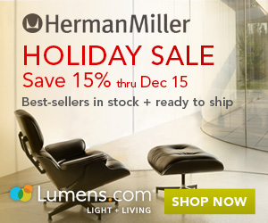 Save 15% on all products by Herman Millerat Lumens.com. Free Shipping! Sale runs 11/24 - 12/15.