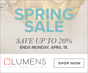 Save up to 20% on lighting and fans for indoors and out during the Spring Sale. Sale runs 4/1-4/18.