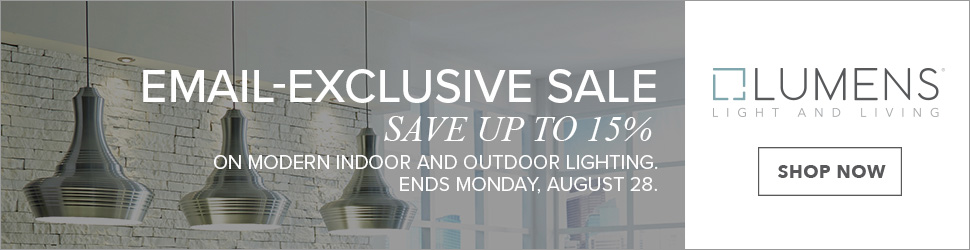 Save up to 15% on Modern Indoor and Outdoor Lighting and Fans from 20+ brands! Use code: SECRET. Lumens exclusive. Free shipping. Sale runs 8/24-8/28.