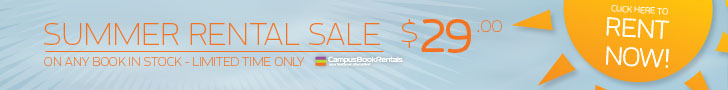 Any summer textbook rental is only $29. Any title, any rental period, provided the book is returned by August 2, 2013. No coupon code necessary.