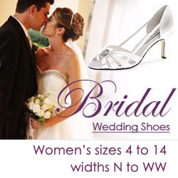 Wedding shoes in all sizes and widths for the bride and bridal party