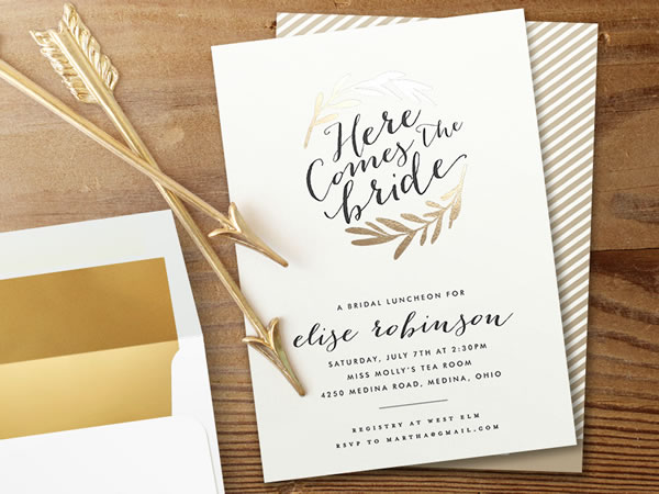 Gold Foil Bridal Shower Invitation