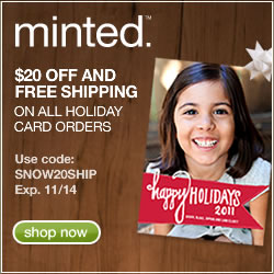 $20 off and free shipping on all holiday card orders with code SNOW20SHIP
