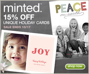 Enjoy 15% off Minted holiday cards with code EARLYBIRD15