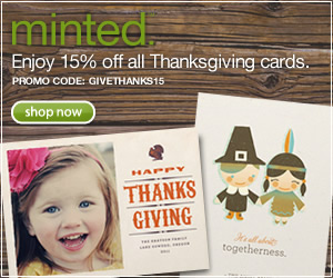 15% off Minted Thanksgiving cards with code GIVETHANKS15