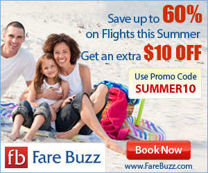 Save an extra $10 on flights for summer with coupon code SUMMER10!