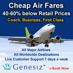 Cheap Airfares 40-60% Below Retail Prices